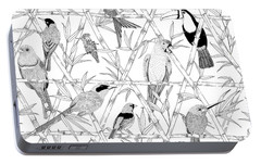 Menagerie Black And White Portable Battery Charger by Jacqueline Colley
