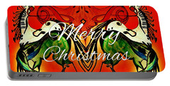 Merry Christmas Dancing Musical Horses Portable Battery Charger by Scott D Van Osdol
