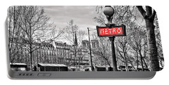 Metro Pont Marie Portable Battery Charger by Delphimages Photo Creations