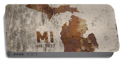 Michigan State Map Industrial Rusted Metal On Cement Wall With Founding Date Series 005 Portable Battery Charger by Design Turnpike