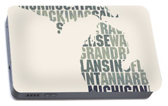 Michigan State Outline Word Map Portable Battery Charger by Design Turnpike