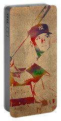 Mickey Mantle New York Yankees Baseball Player Watercolor Portrait On Distressed Worn Canvas Portable Battery Charger by Design Turnpike