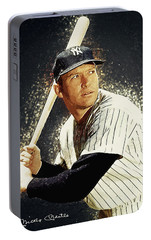 Mickey Mantle Portable Battery Charger by Taylan Apukovska