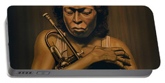Miles Davis Painting Portable Battery Charger by Paul Meijering