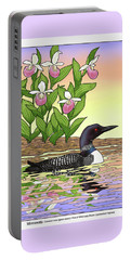 Minnesota State Bird Loon And Flower Ladyslipper Portable Battery Charger by Crista Forest