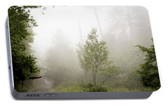 Portable Battery Charger featuring the photograph Misty Road At Forest Edge, Pocono Mountains, Pennsylvania by A Gurmankin