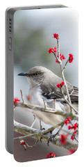 Mockingbird In The Blossoms Portable Battery Charger by Shelby  Young