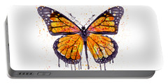 Monarch Butterfly Watercolor Portable Battery Charger by Marian Voicu