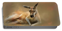 Monday Morning Drowsies Kangaroo Art Portable Battery Charger by Jai Johnson