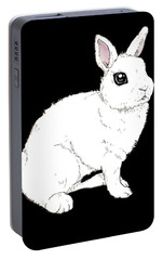 Monochrome Rabbit Portable Battery Charger by Katrina Davis