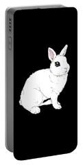 Monochrome Rabbit Portable Battery Charger by Katrina Davis