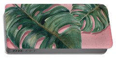 Monstera Leaf  Portable Battery Charger by Mark Ashkenazi