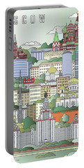 Moscow City Poster Portable Battery Charger by Pablo Romero