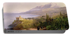 Mount Athos And The Monastery Of Stavroniketes Portable Battery Charger by Edward Lear