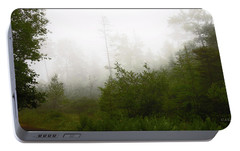 Portable Battery Charger featuring the photograph Mountain Forest Thicket In Fog by A Gurmankin