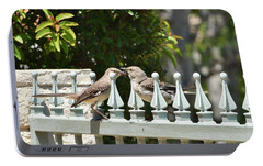 Mr And Mrs Mockingbird With Worms Portable Battery Charger by Linda Brody