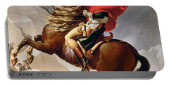 Napoleon Crossing The Alps Portable Battery Charger by Jacques Louis David