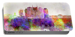 Nashville V2 Skyline In Watercolor Background Portable Battery Charger by Pablo Romero