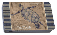 Nautical Stripes Sea Turtle Portable Battery Charger by Debbie DeWitt