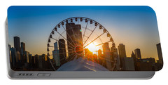 Navy Pier Sundown Chicago Portable Battery Charger by Steve Gadomski