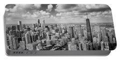 Near North Side And Gold Coast Black And White Portable Battery Charger by Adam Romanowicz