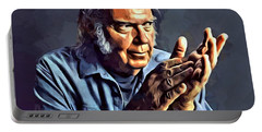Neil Young Portrait Portable Battery Charger by Scott Wallace