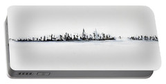 New York City Skyline Black And White Portable Battery Charger by Jack Diamond