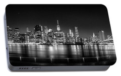 New York City Skyline Panorama At Night Bw Portable Battery Charger by Az Jackson