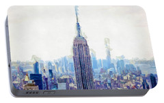 New York Skyline Art- Mixed Media Painting Portable Battery Charger by Wall Art Prints