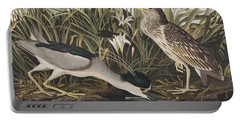 Night Heron Or Qua Bird Portable Battery Charger by John James Audubon