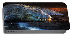 Nile Crocodile On Riverbank-1 Portable Battery Charger by Johan Swanepoel