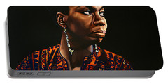 Nina Simone Painting Portable Battery Charger by Paul Meijering