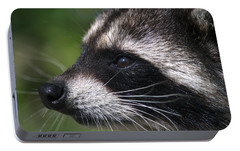 North American Raccoon Profile Portable Battery Charger by Sharon Talson