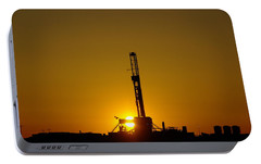 Oil Rig Near Killdeer In The Morn Portable Battery Charger by Jeff Swan