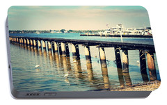 Old Fort Myers Pier With Ibises Portable Battery Charger by Carol Groenen