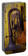 Old Horn And Violin Portable Battery Charger by Garry Gay