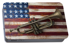Old Trumpet On American Flag Portable Battery Charger by Garry Gay