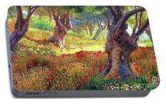 Olive Trees And Poppies, Tranquil Grove Portable Battery Charger by Jane Small