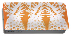 Orange And White Pineapples- Art By Linda Woods Portable Battery Charger by Linda Woods