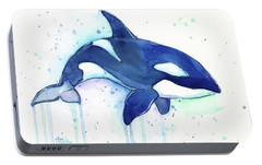 Orca Whale Watercolor Killer Whale Facing Right Portable Battery Charger by Olga Shvartsur