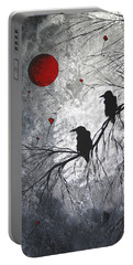 Original Abstract Surreal Raven Red Blood Moon Painting The Overseers By Madart Portable Battery Charger by Megan Duncanson