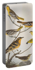 Orioles Thrushes And Goldfinches Portable Battery Charger by John James Audubon