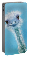 Ostrich Painting Portable Battery Charger by Jan Matson