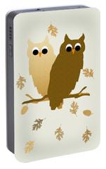 Owls Pattern Art Portable Battery Charger by Christina Rollo
