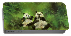 Pandas  Portable Battery Charger by Odile Kidd