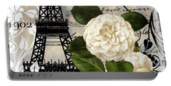 Paris Blanc I Portable Battery Charger by Mindy Sommers