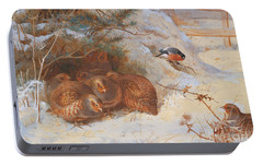 Partridge And A Bullfinch In The Snow  Portable Battery Charger by Archibald Thorburn
