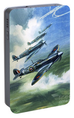 Patrolling Flight Of 416 Squadron, Royal Canadian Air Force, Spitfire Mark Nines Portable Battery Charger by Wilf Hardy