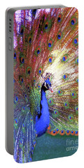 Peacock Wonder, Colorful Art Portable Battery Charger by Jane Small