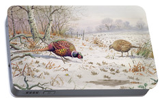 Pheasant And Partridge Eating  Portable Battery Charger by Carl Donner